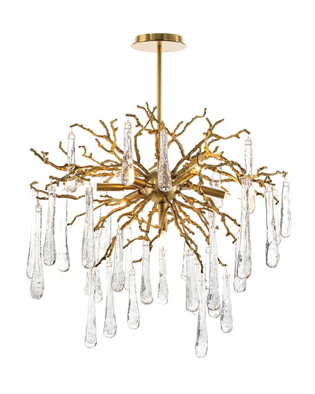 Image 2 of 2: John-Richard Collection Brass and Glass Teardrop 7-Light Chandelier