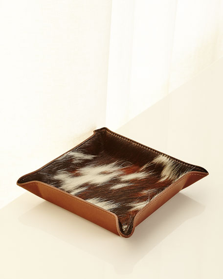 Graphic Image Calf Hair Valet Tray, Brown Pattern