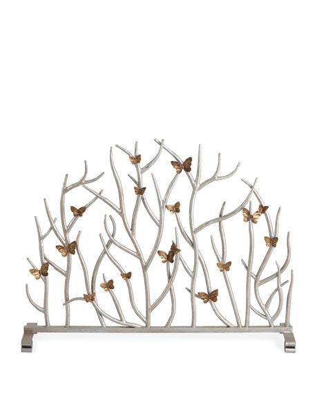 Twig Fireplace Screen with Golden Butterflies