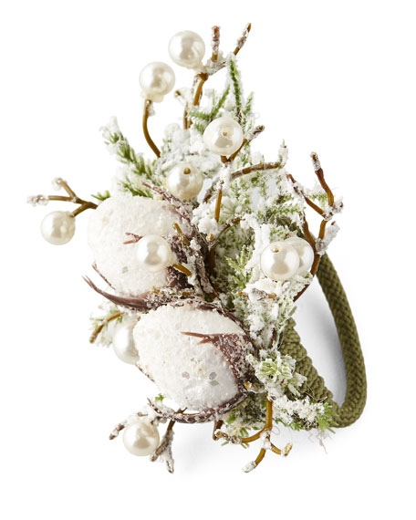 Snowy Cotton Napkin Ring