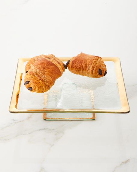 Annieglass Roman Antiqued Square Cake Plate