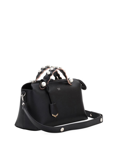 By The Way Medium Leather Satchel Bag w/ Pearly Trim
