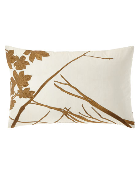 "Lili Alessandra Leaf Decorative Embroidered Pillow, 14"" x 22"""