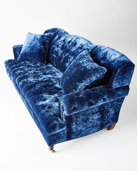 Divine Tufted Crushed Velvet Sofa 77""