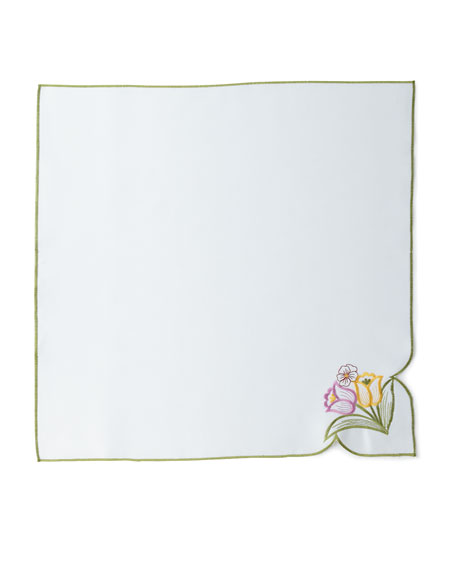 "SFERRA Springtime 4-Piece Napkin Set, 22""Sq."