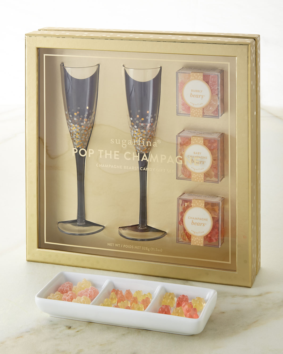 Sugarfina Pop The Champagne - Champagne Flutes & Candy Gift Set