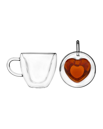 Double Wall Glass Heart Mug