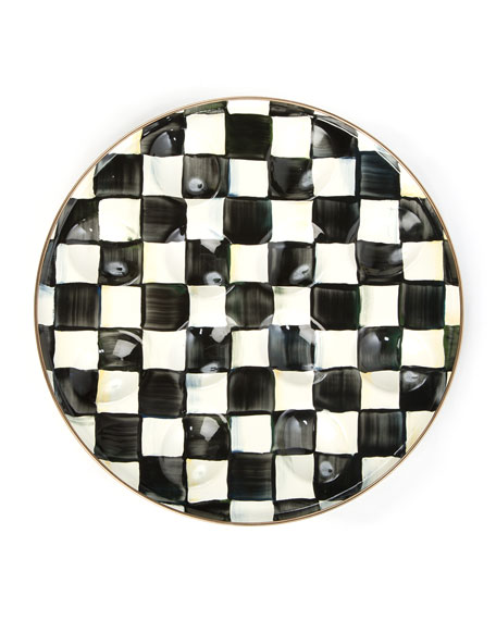 MacKenzie-Childs Courtly Check Enamel Egg Plate