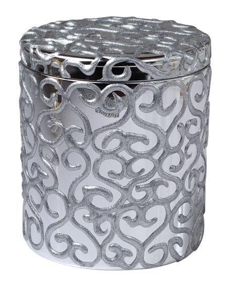 Mike & Ally Jamila Glass Cotton Swab Jar, Silver