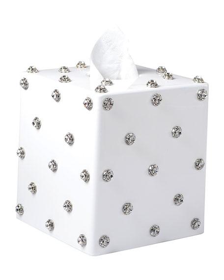Mike & Ally Nova Glass Tissue Box with Stones, White