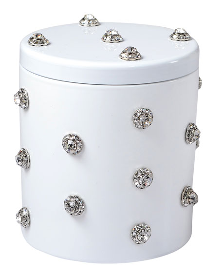 Mike & Ally Nova Glass Cotton Swab Jar with Stones, White
