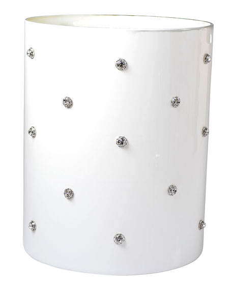 Mike & Ally Nova Glass Wastebasket with Stones, White