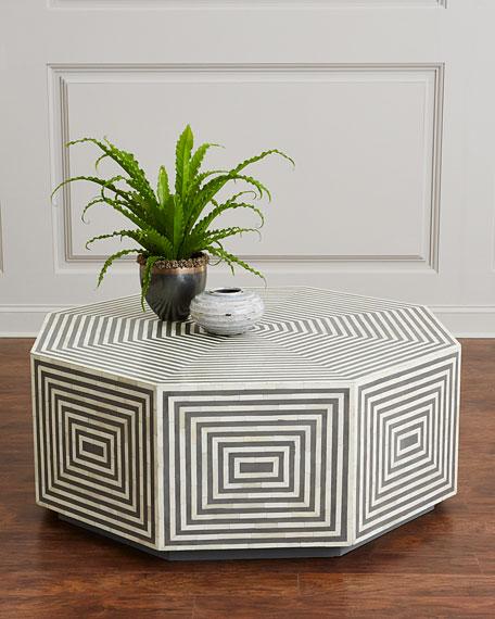 Interlude Home Farrah Octagonal Bone Inlay Coffee Table