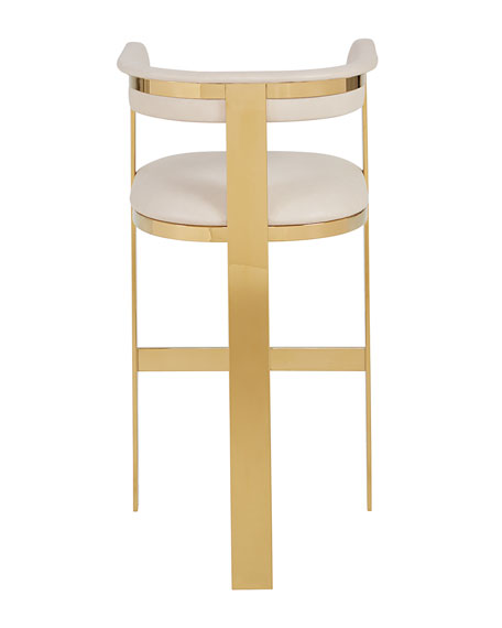 Interlude Home Darla Brass and Leather Bar Stool