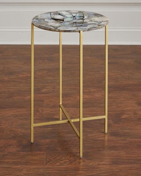 Interlude Home Blinn Round Agate Side Table