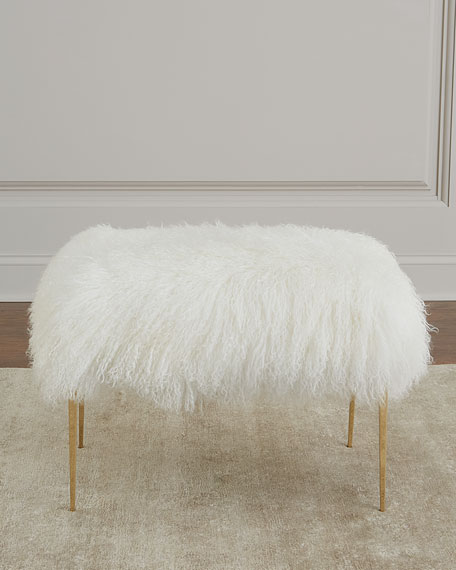Antanette Sheepskin Stool with Stiletto Legs