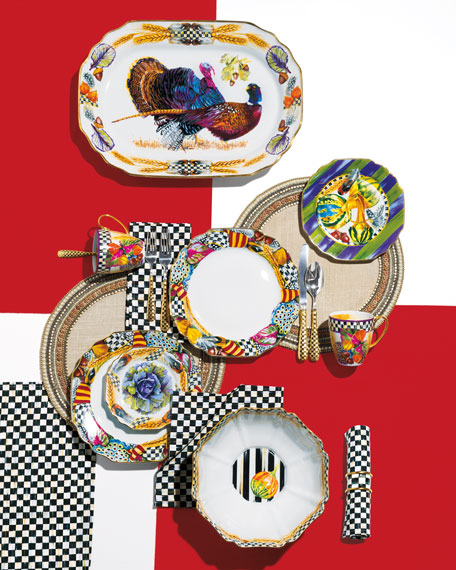 MacKenzie-Childs 5-Piece Check Gold-Plate Place Setting