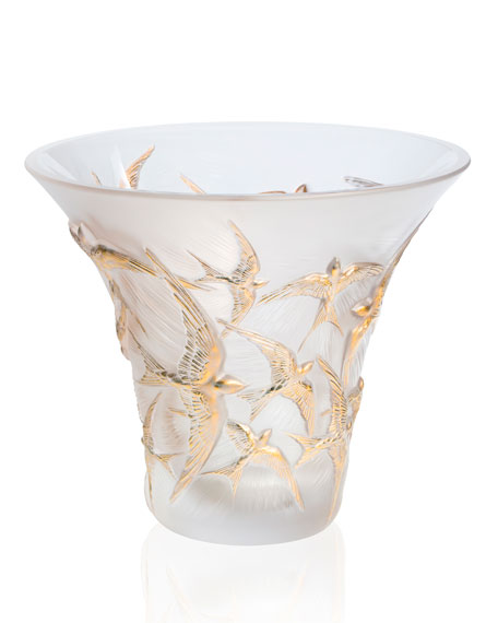 Lalique Flared Gold Stamped Hirondelles Vase