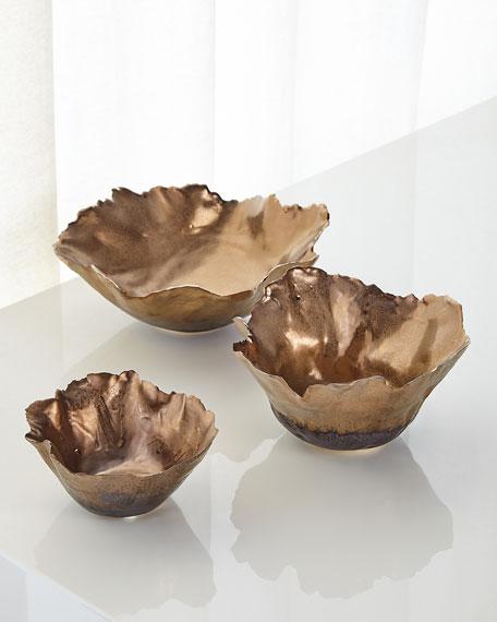 Fleur Ceramic Bowls, Set of 3