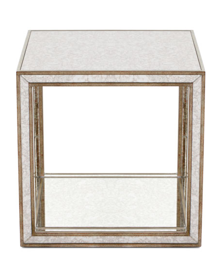 Clare Antiqued Mirrored Side Table