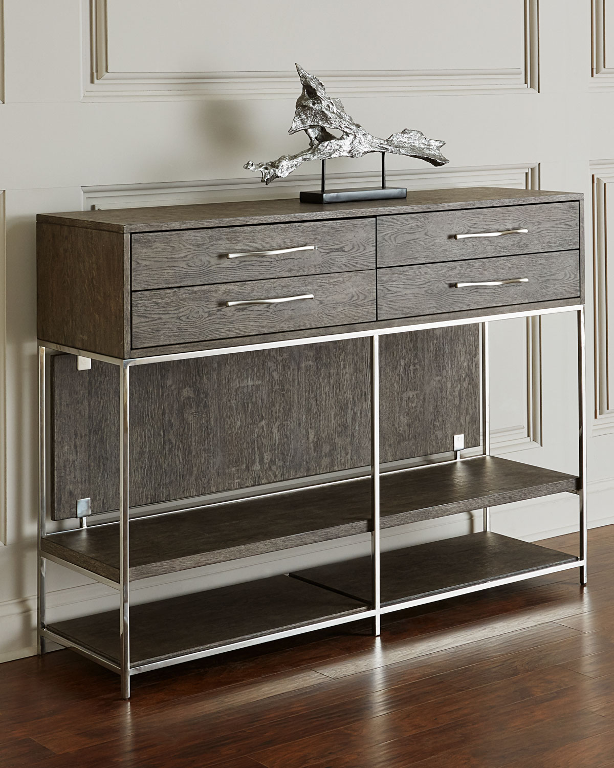 Hooker Furniture Astoria Stainless Steel And Wood Tall Console Table - Tall stainless steel table