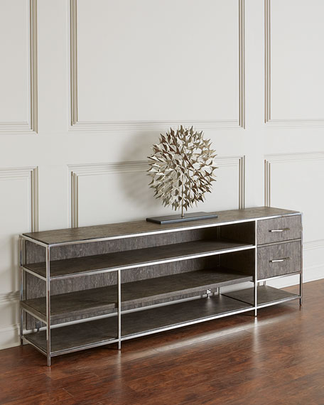Astoria Stainless Steel and Wood Shelved Console Table
