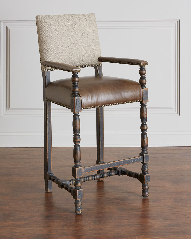 Hooker Furniture Casella Leather Bar Stool Neiman Marcus