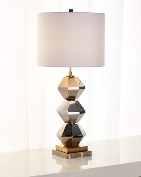 Image 2 of 2: Rockefeller Faceted Crystal Table Lamp