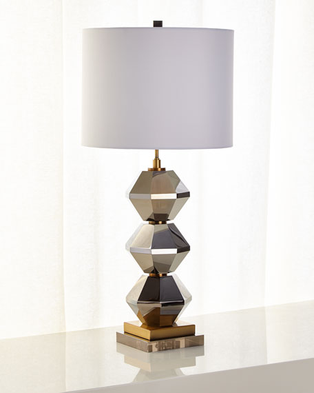 Image 1 of 2: Rockefeller Faceted Crystal Table Lamp