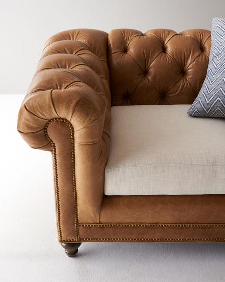"Clayton Tufted Leather Sofa 94"""