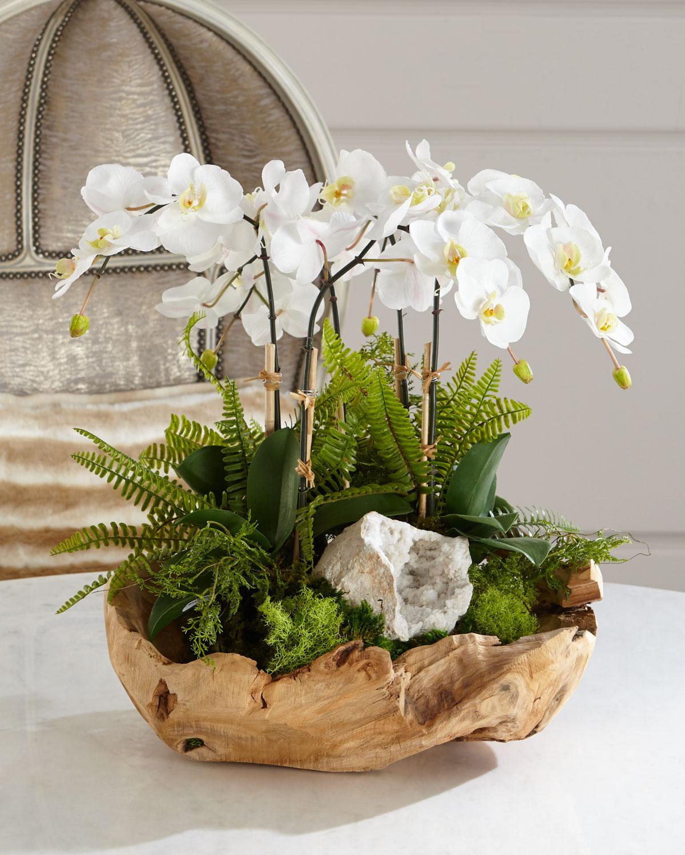 T&C Floral Company White Orchid Faux-Floral Arrangement in Wooden ...