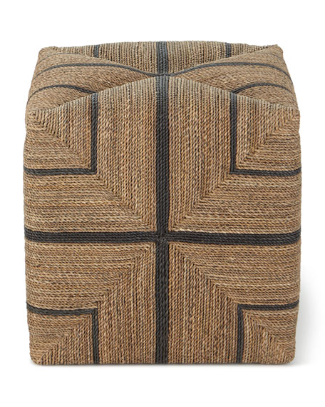 Image 3 of 3: Palecek Fritz Rope Square Ottoman