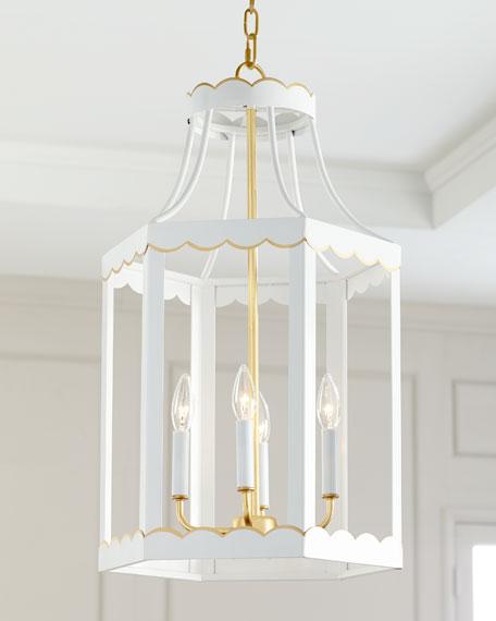 Eloise Glossy Lantern, White/Gold