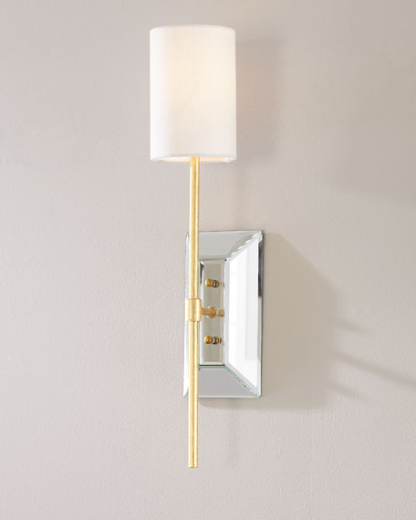 Beveled Mirror and Gold Leaf Wall Sconce