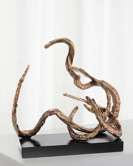 John-Richard Collection Organic Movement Sculpture in Antiqued Brass