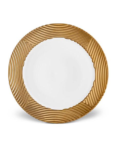 L'Objet Corde Wide-Rim Charger, White/Gold