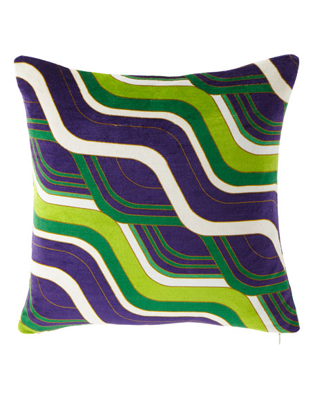 Jonathan Adler Milano Mod Tide Pillow, Green/Purple