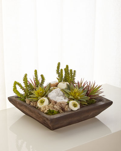 Silk Succulents and Quartz Arrangement