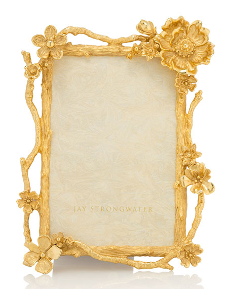 "Jay Strongwater Floral Branch Picture Frame, 4"" x 6"""