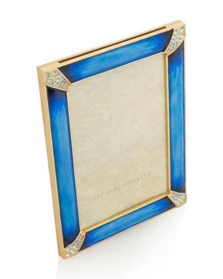 Jay Strongwater Indigo Pave Corner 4 x 6 Picture Frame