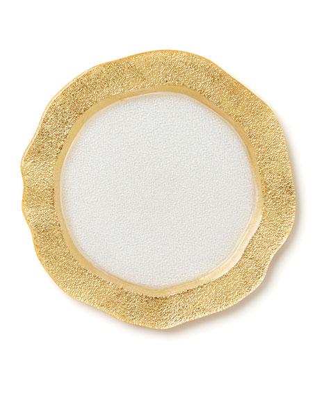 Vietri Rufolo Glass Organic Salad Plate, Gold