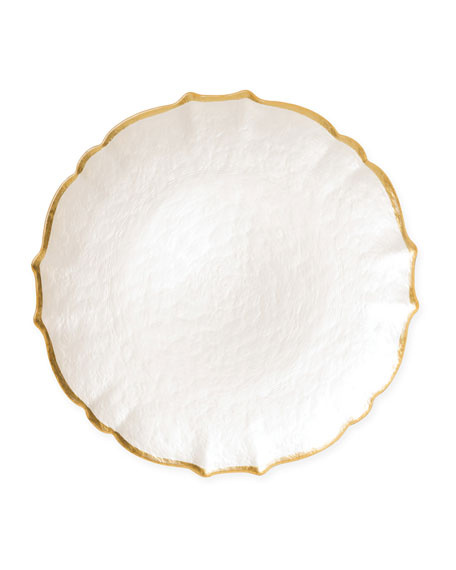 Vietri Pastel Glass Salad Plate, White