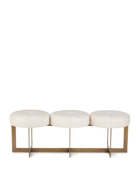 John-Richard Collection Leather Button Bench