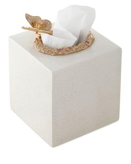 Jay Strongwater Boudoir Crackle Glaze Tissue Holder and