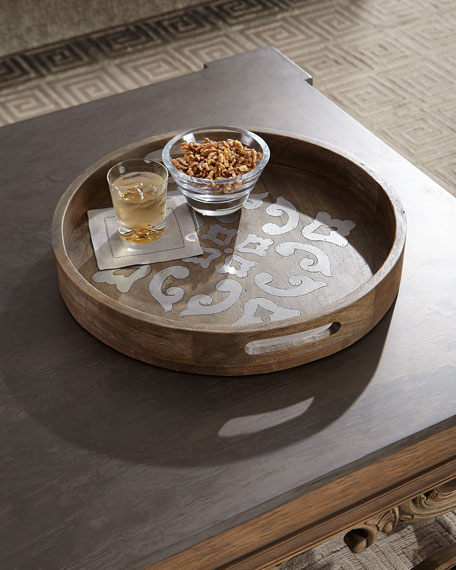 Round Wood Tray w/ Metal Inlay, 20""
