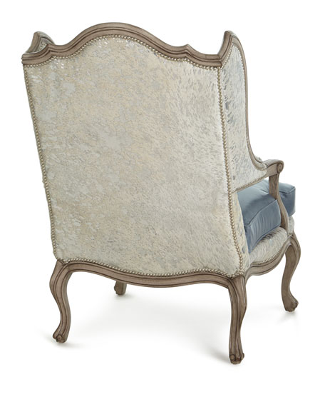 Fauna Hair Hide and Leather Wing Chair