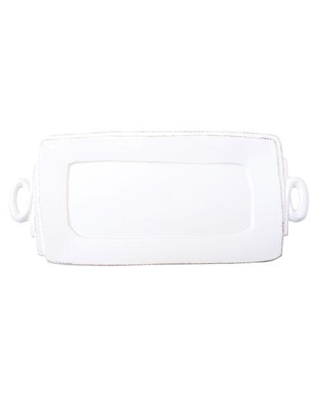 Vietri Lastra Handled Rectangular Platter, White
