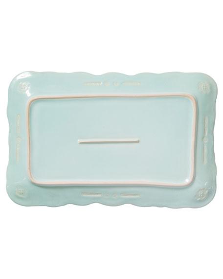 Vietri Incanto Stone Lace Small Rectangular Platter, Aqua