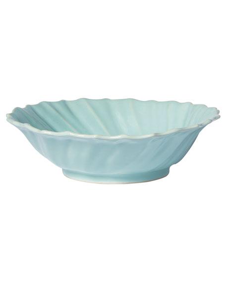 Vietri Incanto Stone Ruffle Large Bowl, Aqua