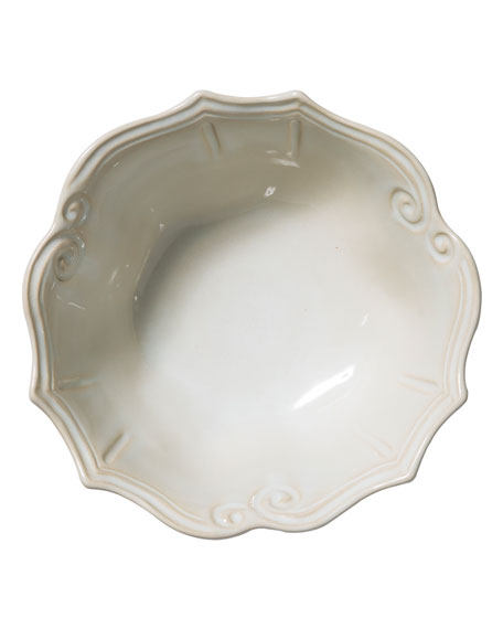 Vietri Incanto Stone Baroque Medium Serving Bowl, Linen